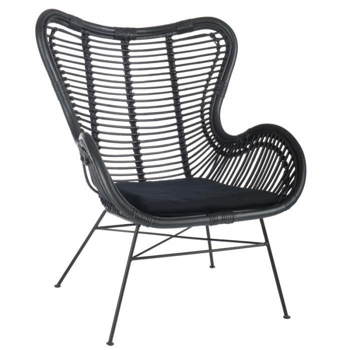 fauteuil rotin noir