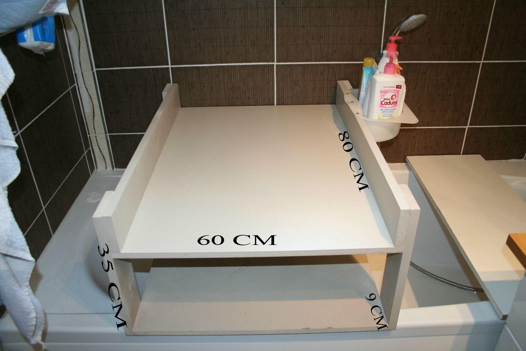 plan à langer sur baignoire
